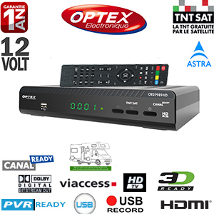 Optex ORS9989 HD - Terminal numérique TNTSAT HD Canal Ready 12 Volts - Déport IR en option avec carte Viaccess TNTSAT (Valable 4 ans) via Astra 19.2° + Cordon HDMI offert