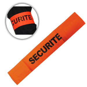 Brassard orange fluo avec velcro et inscription SECURITE