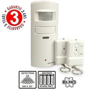 mini alarme de maison avec d tecteur de mouvement avec 2 t l commandes elro. Black Bedroom Furniture Sets. Home Design Ideas