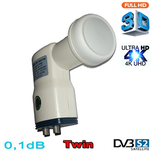 LNB Twin 0,1 dB HDG2-TNM - Compatible HDTV et 3D ready - 40mm - 1 an garantie