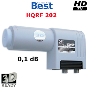 LNB Twin 0.1 dB - 40 mm - Best Germany HQRF 202 - Lens straight Feed - 3D Ready