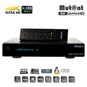 Récepteur 4K MUTANT HD51 - ULTRA 2160p HD 4K - Enigma2 - IPTV Ready - PVR ready - Tuner 1x DVB-S2 -  DVB-C / T / T2 (en option)