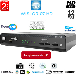 WISI OR 07 Terminal numérique HD - 12Volts - PVR via USB - HDMI - Ethernet - 1 lecteur de carte - Déport IR en option - avec carte Viaccess Fransat via Atlantic Bird 3 + Cordon HDMI offert